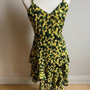Parker lemon tiered asymmetrical sz small Dress